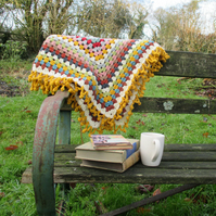 RESERVED for Becky - Woollen Crochet Granny Square Blanket with Bobbly Edge