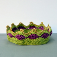 Organic Cotton Crochet Crown - Lime and Berry