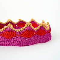 Organic Cotton Crochet Crown - Berry and Red