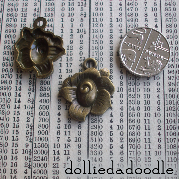 5 bronze coloured rose charms