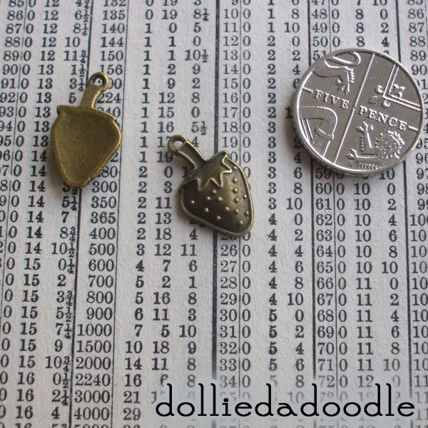 10 bronze coloured strawberry charms