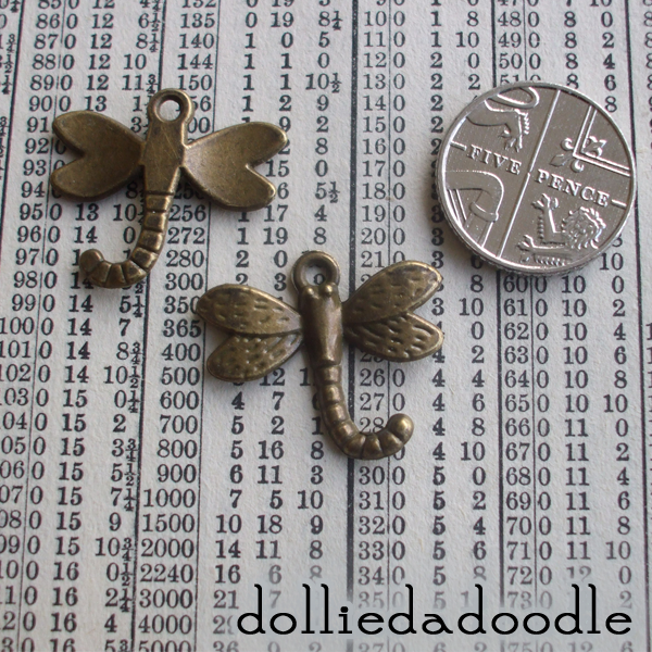 7 bronze coloured dragonfly charms