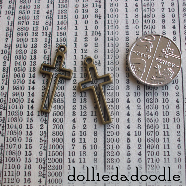 10 bronze coloured cross charms