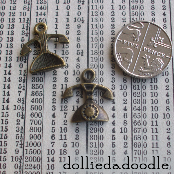 10 bronze coloured telephone charms