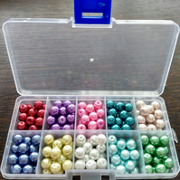 8mm glass pearls selection box - brights mix