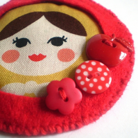 Eliza - Red Matryoshka Russian Doll Felt Brooch