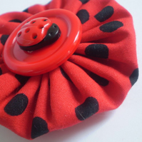 Fly Away Ladybird Fabric Hair Clips