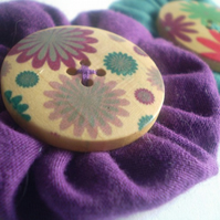 Purple & Teal Fabric Hair Clips