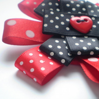 Wonderland Inspired Spotty Ribbon Brooch