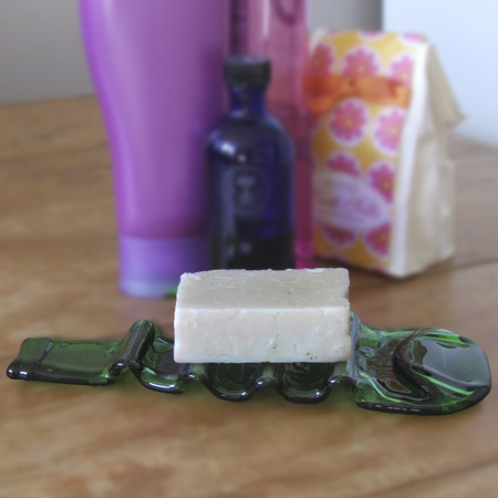 Recycled beer bottle soap dish