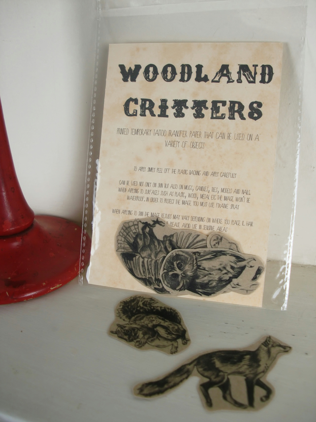Woodland Critters Illustrated Tattoo Transfer Paper