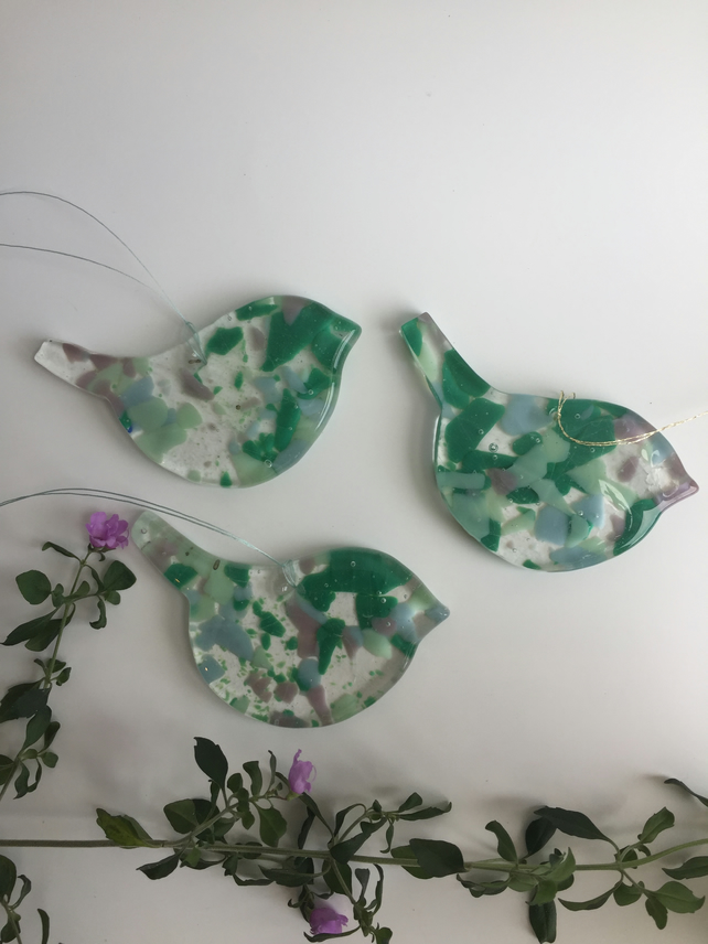 Recycled Glass Birds- Green