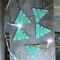 5 Fused Glass Trees- Mint Green