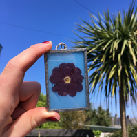 Sky Blue Primrose Stained Glass Panel
