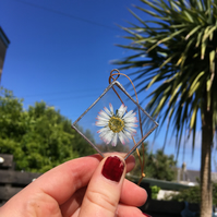 Small Daisy Stained Glass Decoration