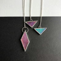 Stained Dichroic Glass Geometric Necklaces