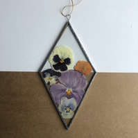 Pansies in a Stained Glass Diamond