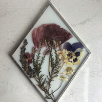 White Stained Glass Frame: Poppy, Lavender, Heather, Gypsophilia, Chamomile
