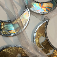 Gold Leaf Stained Glass Moons