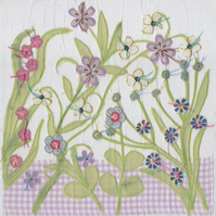 Purple botanical Garden card - free postage
