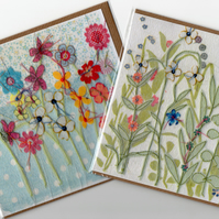 2 x Flower Garden cards with free post