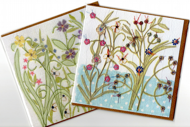 Pair of Flower Garden cards -free postage
