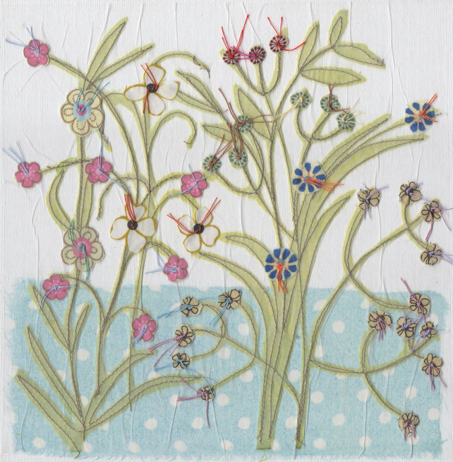 Blue flower garden card - free postage