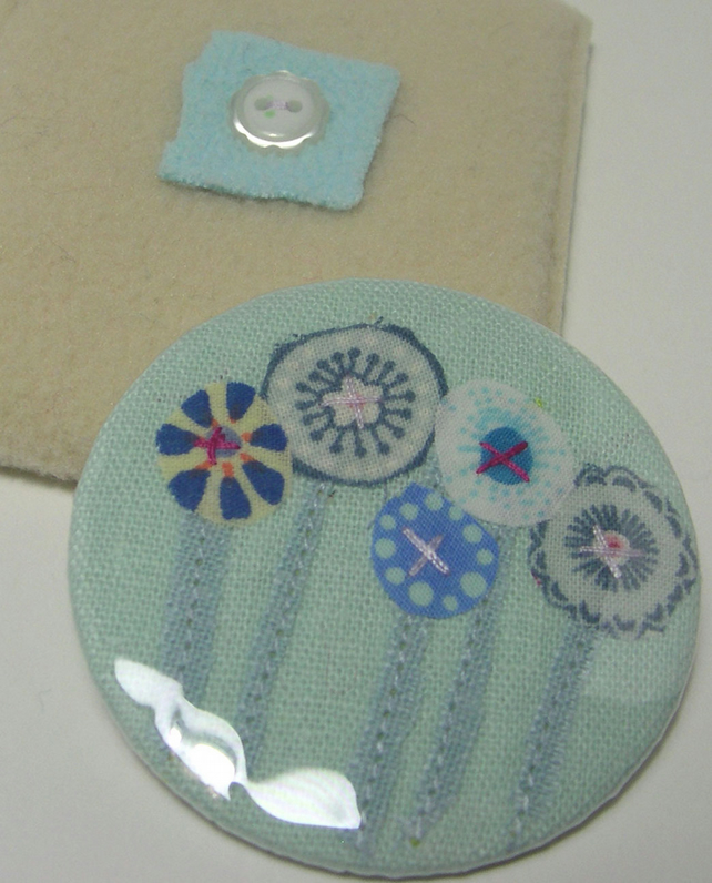 SALE -  Blue Flowers pocket mirror
