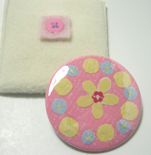 SALE - Candy pink  flowers pocket mirror
