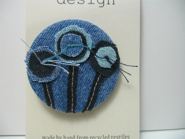 SALE Denim Flower  brooch
