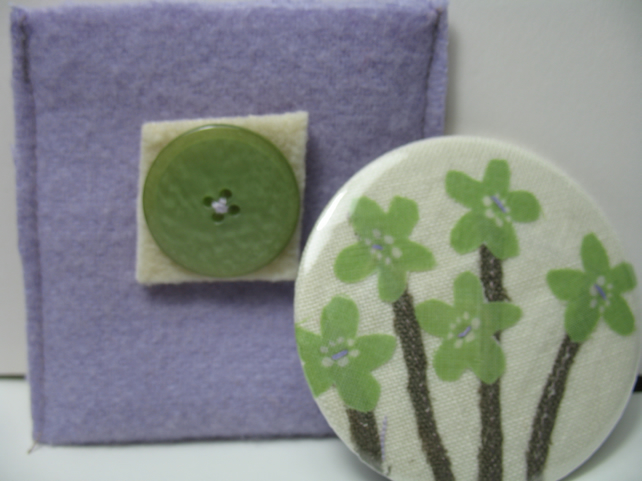 SALE Flowers mirror and pouch