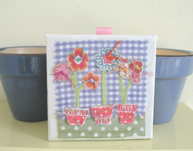 Red polka dot flower pots