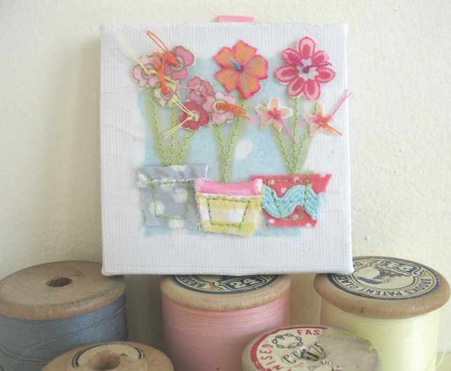 Flower pots textile artwork