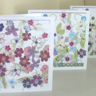 Set of 3  Flower Garden cards