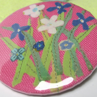 Pocket Mirror - 'Pink linen Meadow'