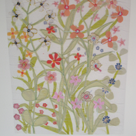 Print - Summer Flower Meadow hand embellished Print