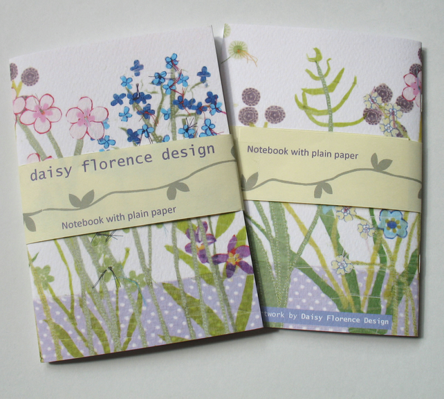 Notebook - floral botanical design with plain paper