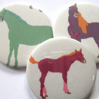Horse pony  pocket mirror trio