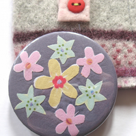 SALE - Flower mirror and pouch