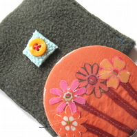 SALE Orange flower mirror and pouch