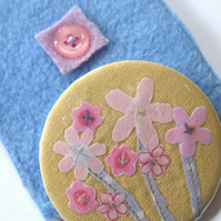 Mothers Day - Primrose yellow flower mirror and pouch