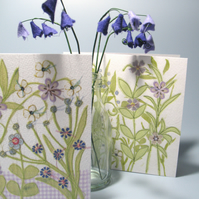 Pair of Flower Garden cards in shades of purple