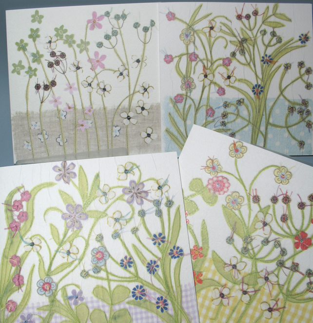 4 Flower Garden cards for any occasion