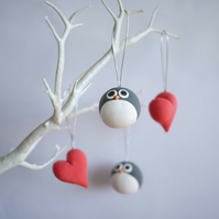 Penguin and Heart Valentine's Day Ornaments