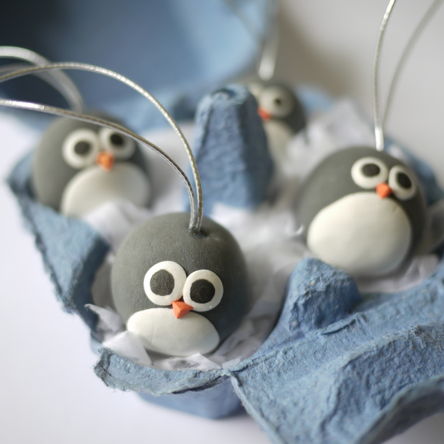 Penguin Christmas Tree Decorations (Box of 4) - Folksy