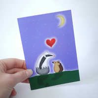 Badger and Hedgehog Valentine's Card