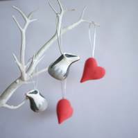 Badger and Heart Hanging Decorations