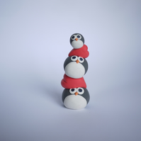 Valentine's Day Penguin and Heart Totem Pole