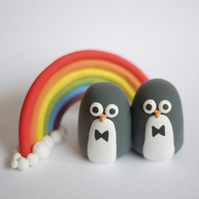 Gay Penguin Wedding Cake Topper