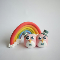Pink Penguins Gay Wedding Cake Topper